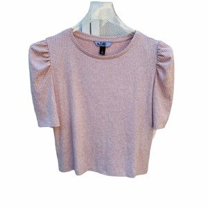 Vylette NWT Puffy Sleeve Soft Ribbed Cropped Top